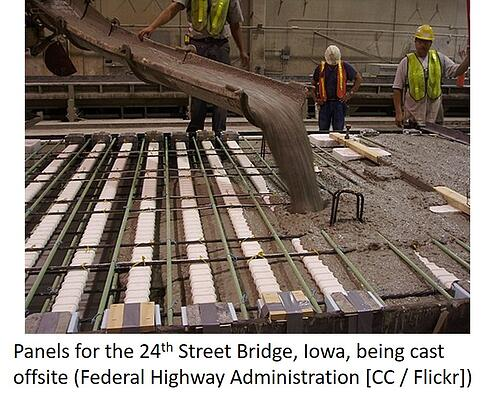 Concrete panels for 24th Street Bridge being prefabricated offsite.
