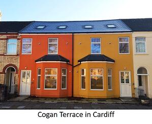 Facade of Cogan Terrace in Cardiff
