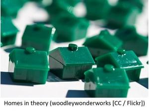 Green plastic monopoly houses.