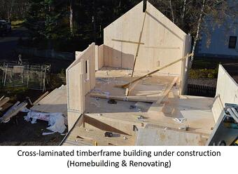 Timberframe building under construction.