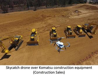 Skycatch drone and Komatsu construction equipment