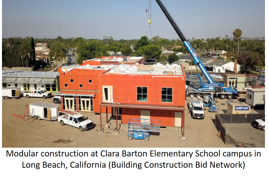 Modular construction at Clara Barton elementary school.