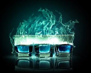 Image of three glasses of burning emerald absinthe