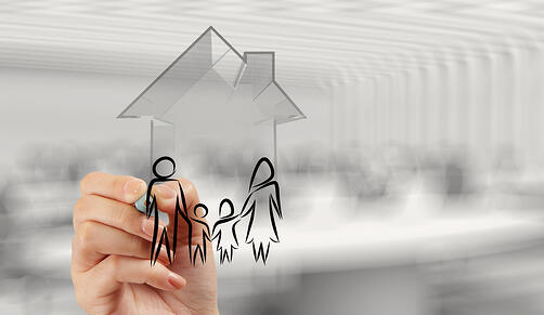 hand drawing 3d house with family icon as insurance concept