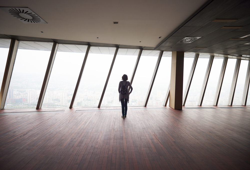 young successful startup business woman in penthouse,  modern bright duplex office apartment interior  with big windows-2