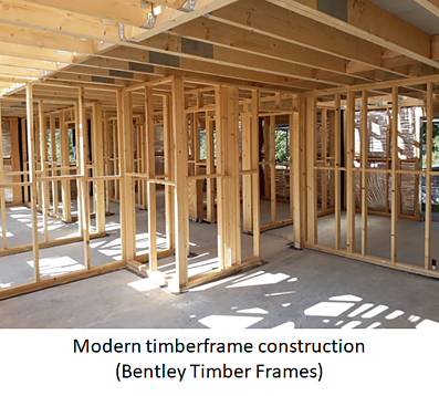 Construction of a house built with timberframe panels.