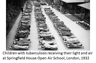 Children with tuberculosis receiving their light and air at Springfield House Open Air School, London, 1932