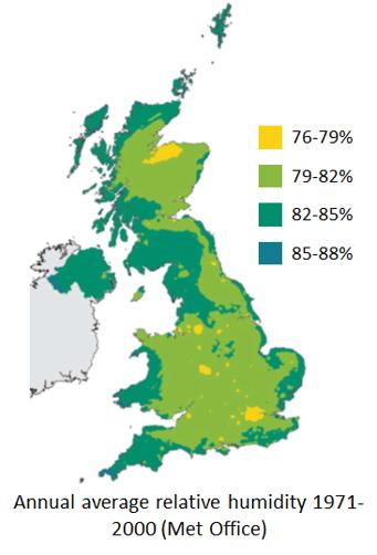 Humidity map of the United Kingdom