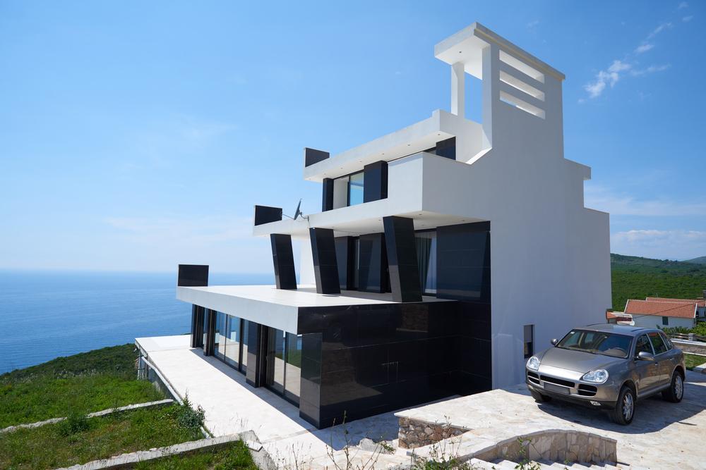 External view of a contemporary house modern villa at  sunset-1